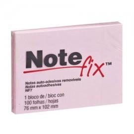 Bloco Adesivo Notefix 3M Rosa - 76mm x 102mm - Pct com 1 unidade de 100 folhas