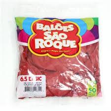 Balão São Roque Tam 7 - Cor Vermelho - Pacote Com 50 Uni