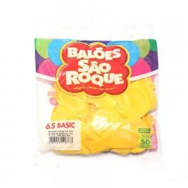 Balão São Roque Tam - 6.5 - Cor Amarelo - Pacote Com 50 Uni