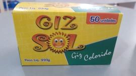 Giz Sol Escolar Colorido Plástificado Antialérgico CX C/50 Bastões.