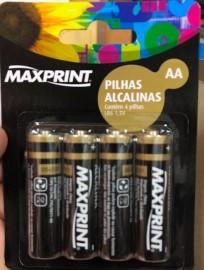 Pilha - AA - Maxprint - Alcalinas - Cartela - Com 4 - Unidades