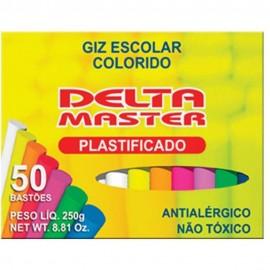 Giz Delta Escolar Colorido Plástificado Antialérgico CX C/50 Bastões.