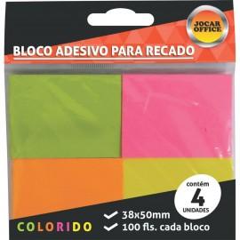 Bloco Adesivo Jocar Office Neon - 38mm x 50mm - Pct com 4 unidades de 100 folhas cada