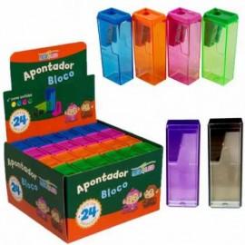 Apontador Plástico com Depósito Bloco Colorido 6cm Leo&Leo - Jocar office