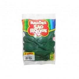 Balão São Roque Tam 7 - Cor Verde Folha - Pacote Com 50 Uni