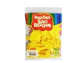 Balão São Roque Tam 7 - Cor Amarelo - Pacote Com 50 Uni