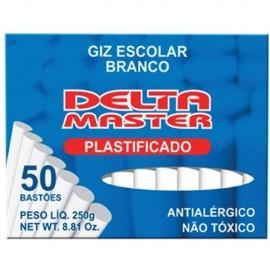 Giz Delta Escolar Branco Plástificado Antialérgico CX C/50 Bastões.