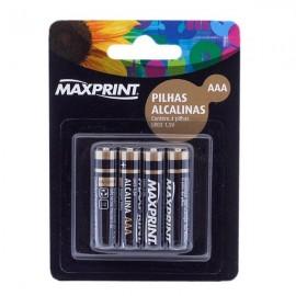 Pilha - AAA - Maxprint - Alcalinas - Cartela - Com 4 - Unidades