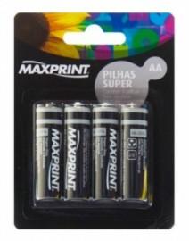 Pilha - AA - Maxprint - Super - Cartela - Com 4 - Unidades