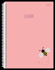 Caderno 10 Mat. Clean Cor Pastel Rosa - São Domingos