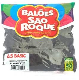 Balão São Roque Tam 6.5 - Cor Preto - Pacote Com 50 Uni
